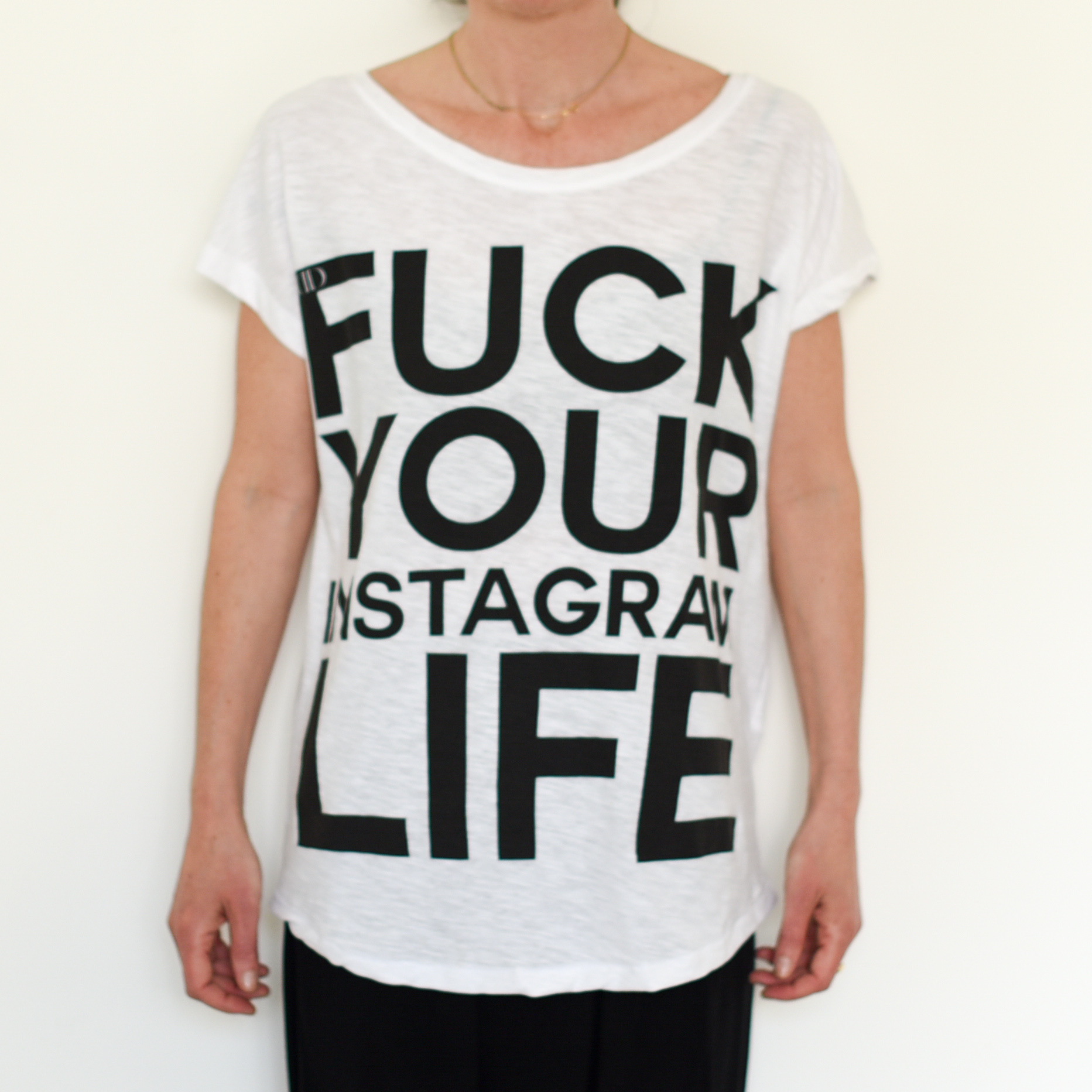 Deportment Department Fuck Your Instagram Life T shirt white worn