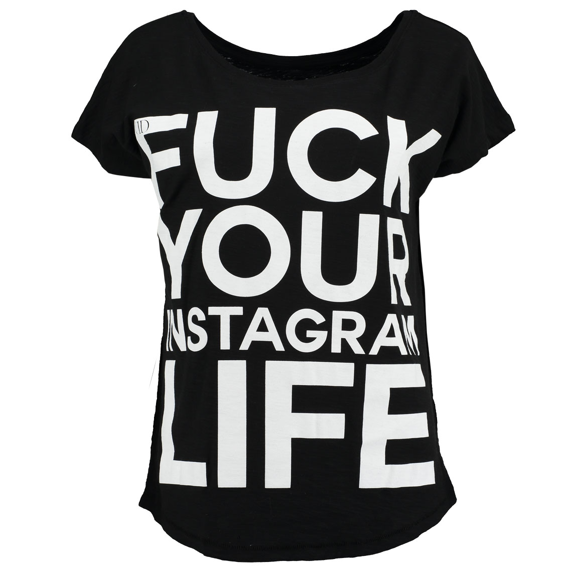 Deportment Department Fuck Your Instagram Life T shirt womens black worn